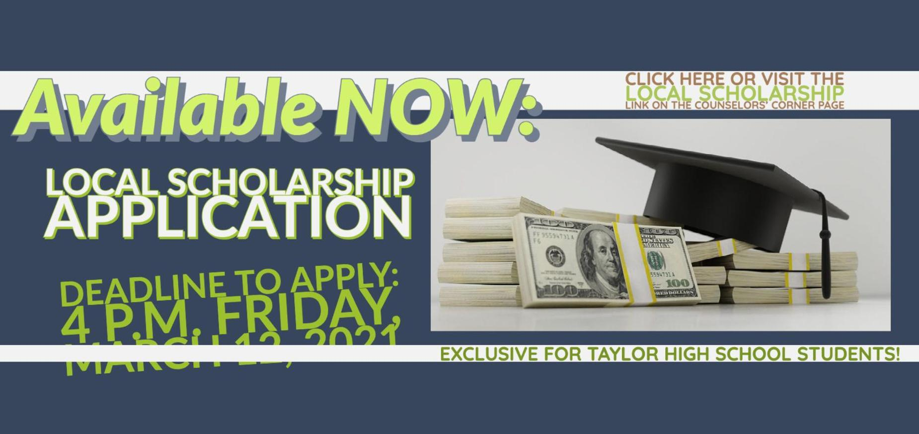 Local Scholarship Deadline Friday, March 12, 2021