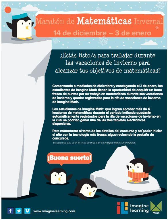 winter math a thon flyer in Spanish
