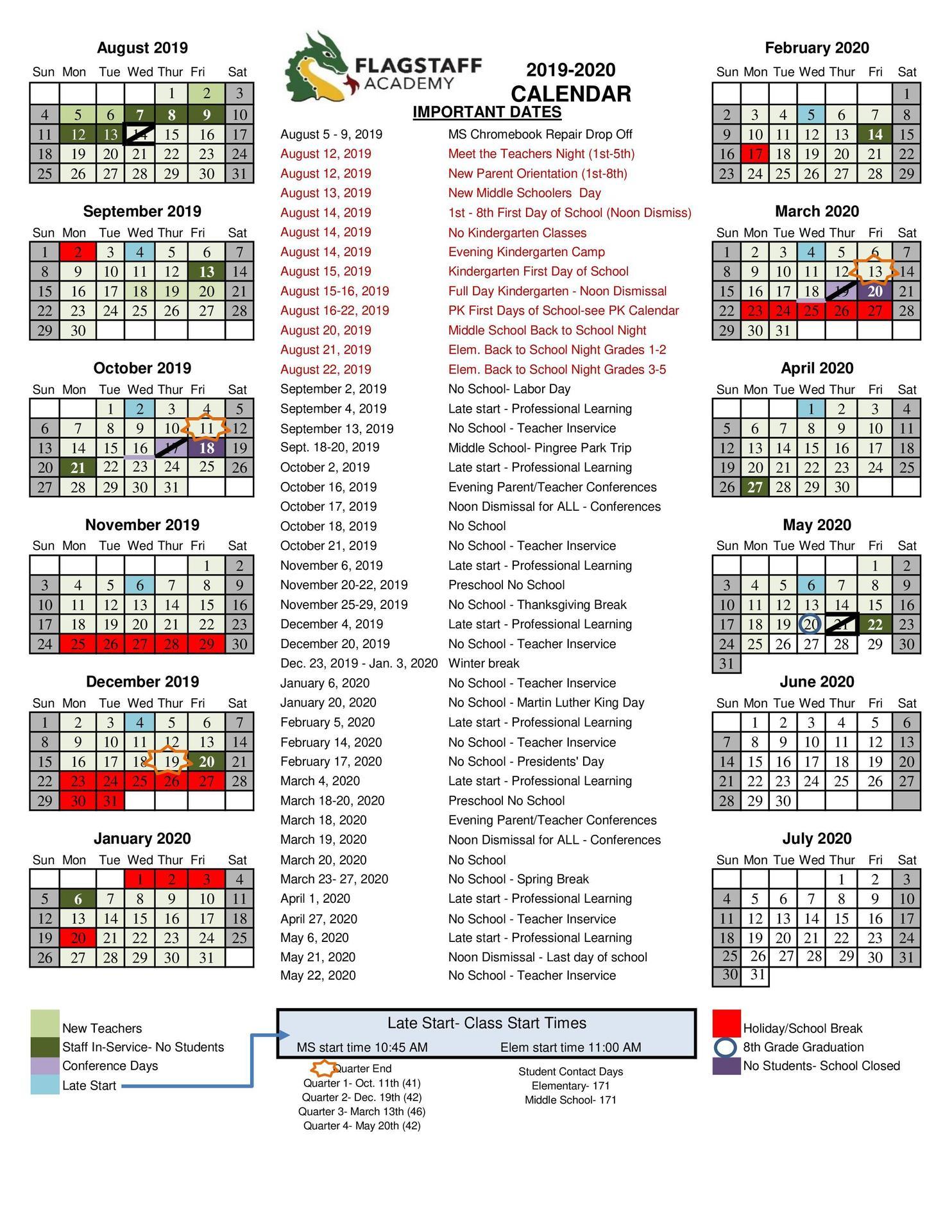 Us Government Calendar 2020 2019 2020 Academic Calendar   Grade Levels & Academics   Flagstaff