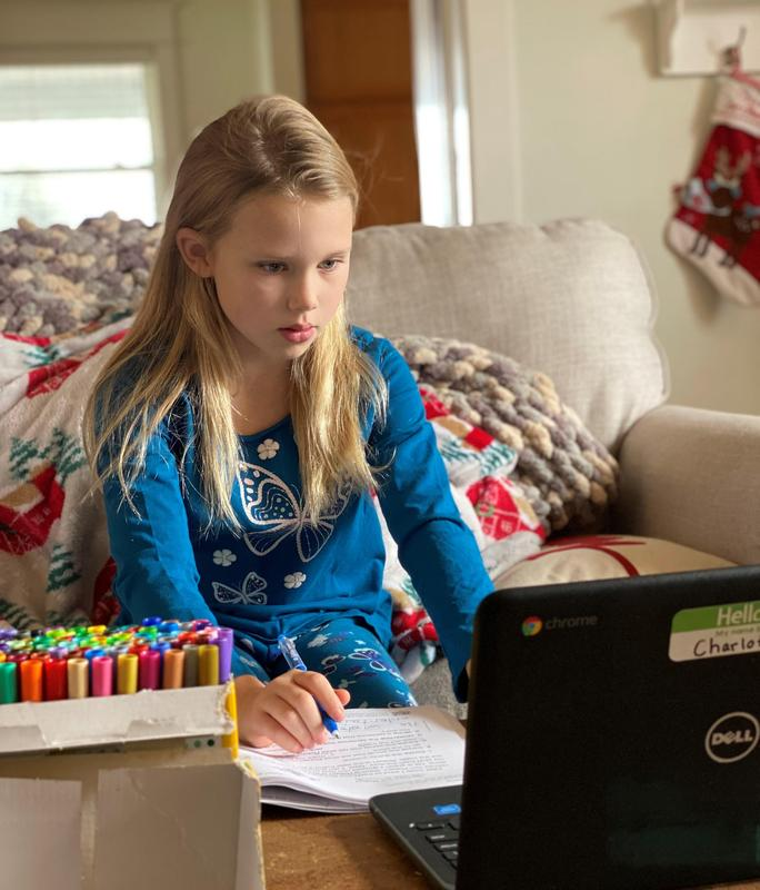 Charlotte Cowell, a second grade student at Lee Elementary, has been finding success working from home remotely.