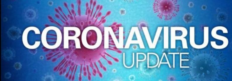 Blue background with purple viruses that reads coronavirus update