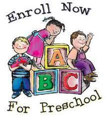 Enroll Now For Preschool with cartoon pictures of children and A B C blocks.