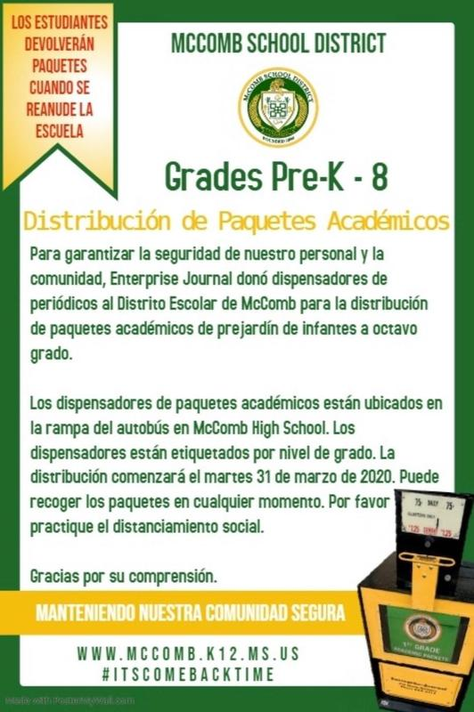 Academic packet distribution in Spanish