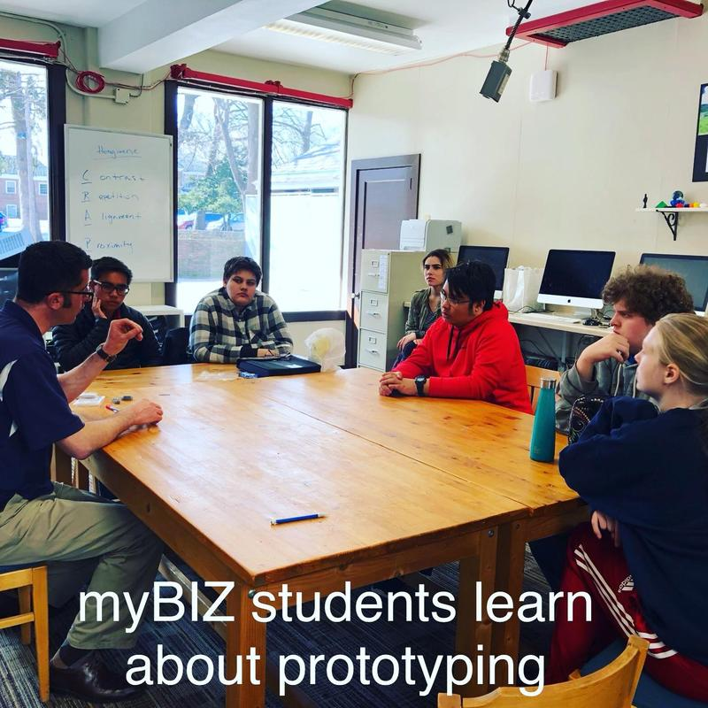 Entrepreneur/Innovator talks with myBIZ class about prototyping Featured Photo