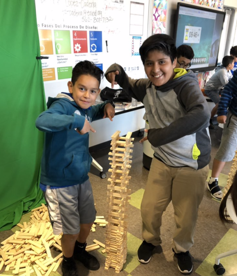 Students collaborating in the Innovation Lab with KEVA Planks!