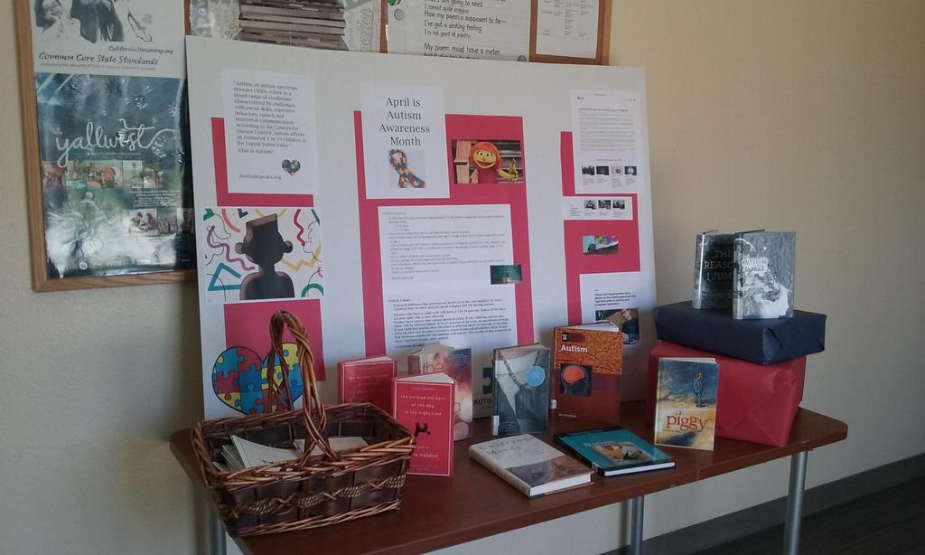 Books and posters welcoming students to the library
