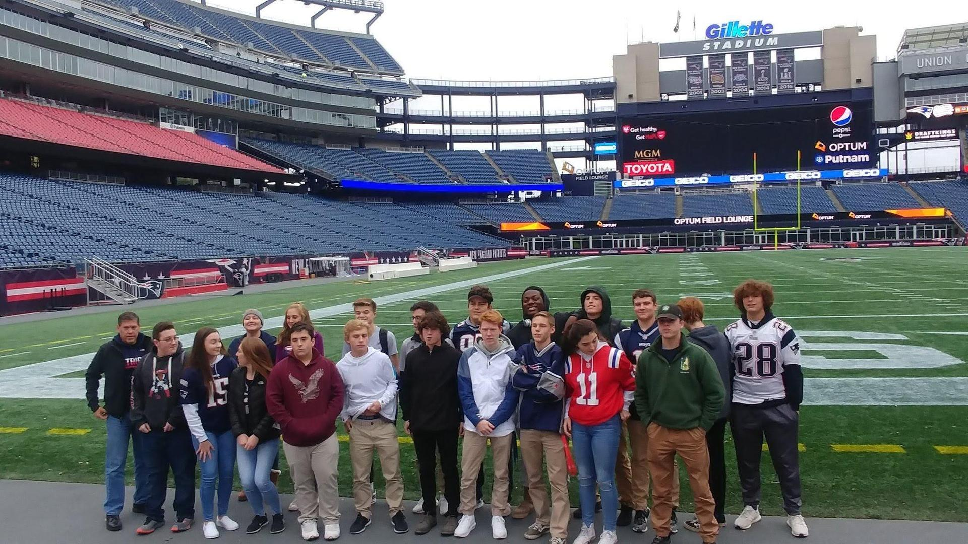 Group of marketing students at Gillette Stadium