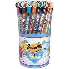 a bucket of pencils in different colors with the word SMENCILs written on it