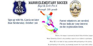 Soccer flier announcing upcoming opportunities at Manor Elementary for students to play soccer.