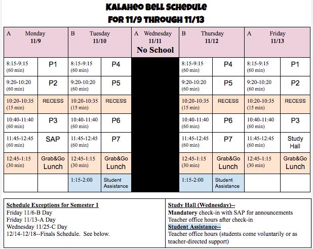 11/9-13 Bell Schedule