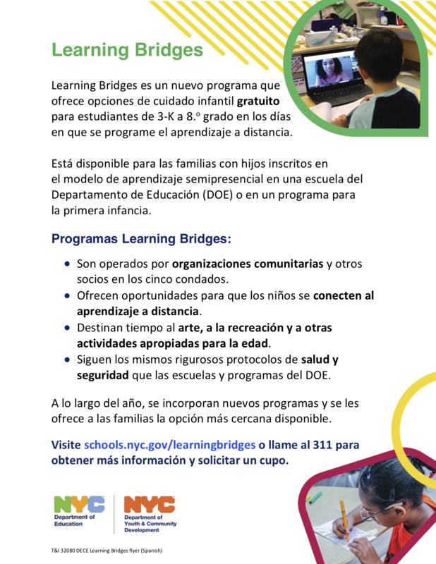 Learning Bridges Flyer in Spanish