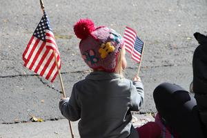 girl holding flag