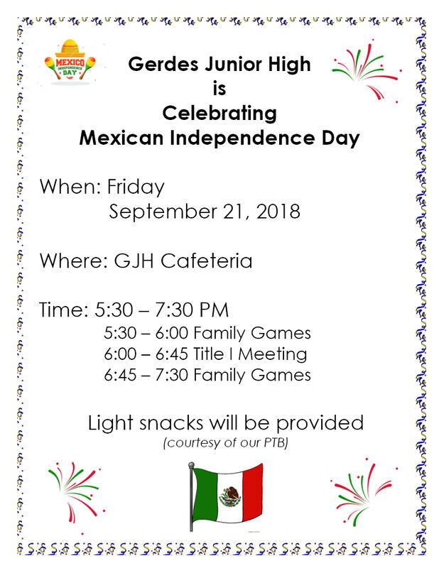 GGJH To Celebrate Mexican Independence Day - Friday, September 21, 2018 Thumbnail Image