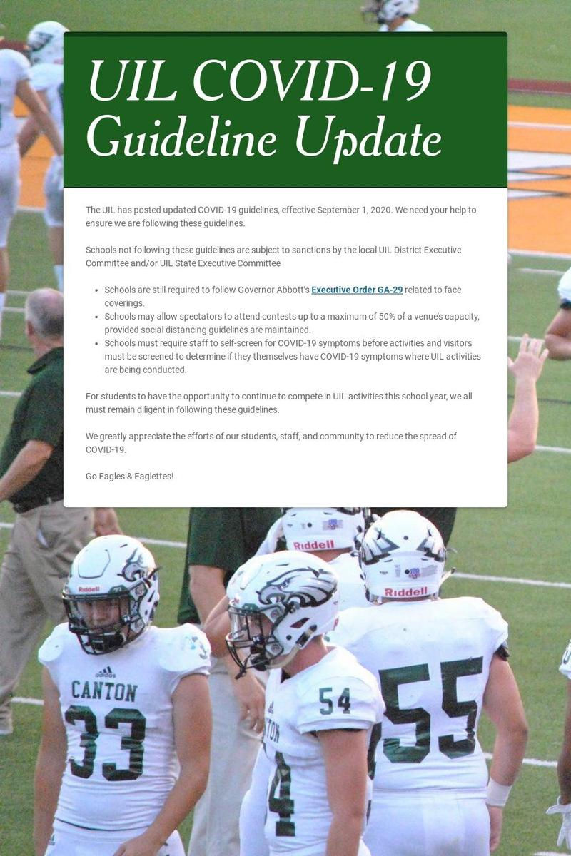 UIL COVID-19 Guideline Update Featured Photo