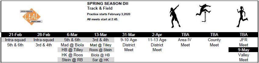 2019-2020 Track & Field Schedule