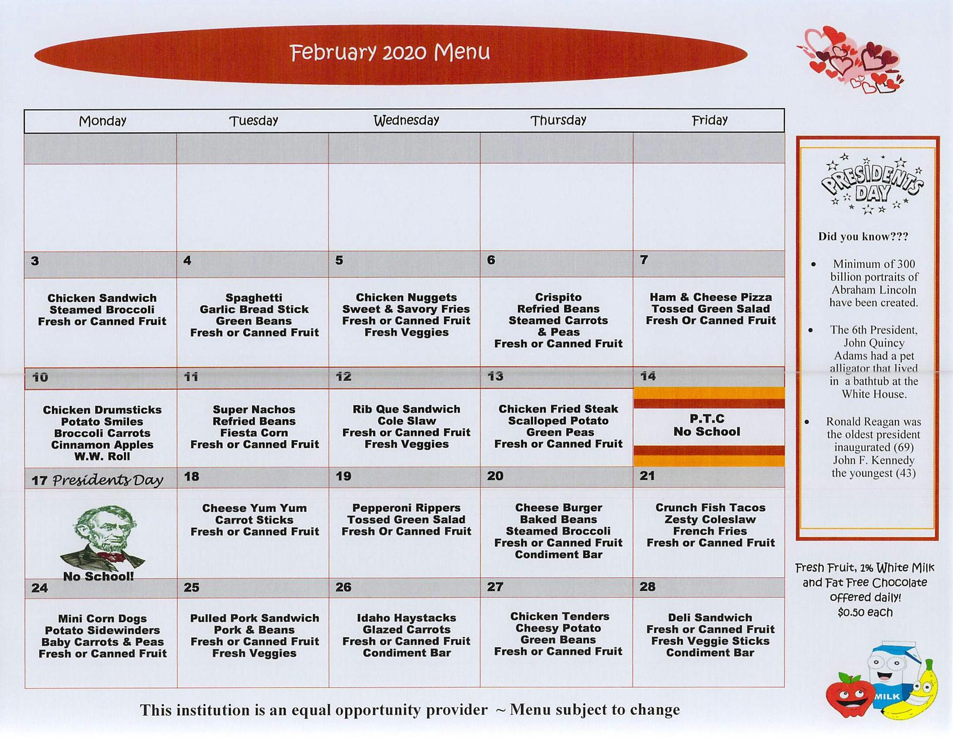 2020 February Elementary Lunch Menu English