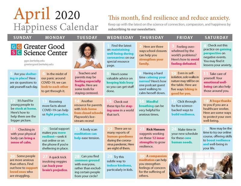 April Happiness Calendar Featured Photo