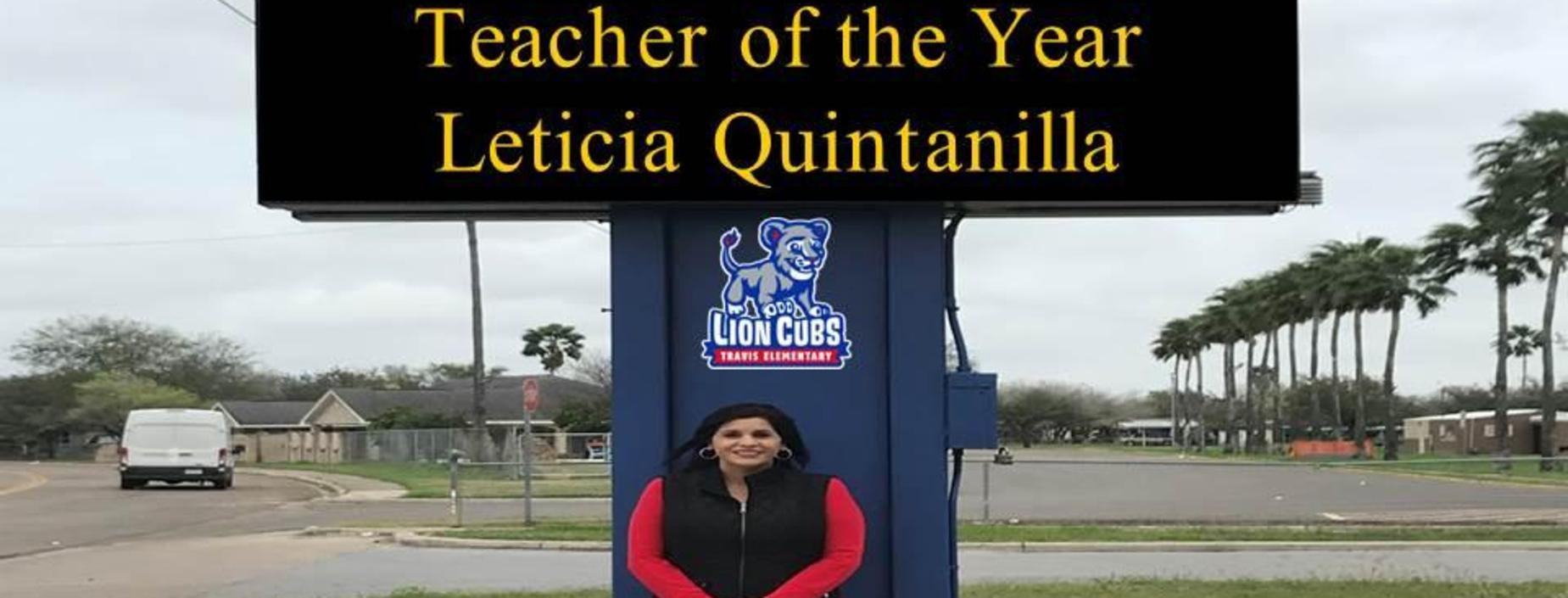 Congratulations Teacher of the Year Mrs. L. Quintanilla!