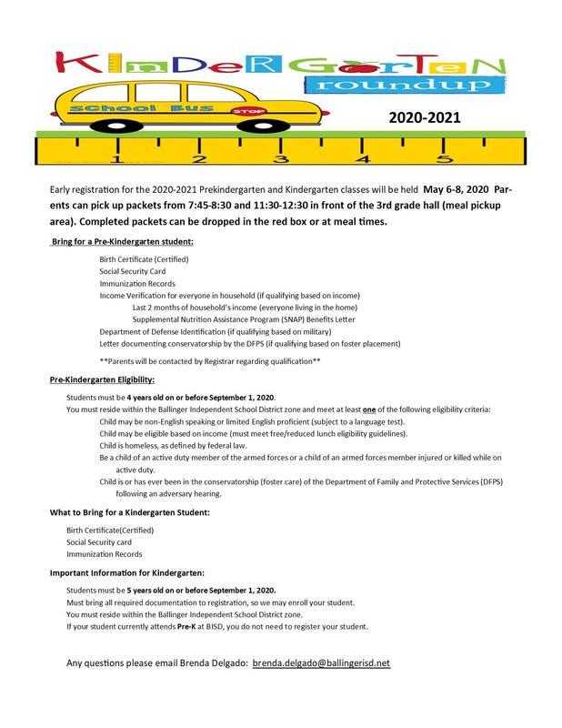 Pre-K/Kinder Pre-registration information