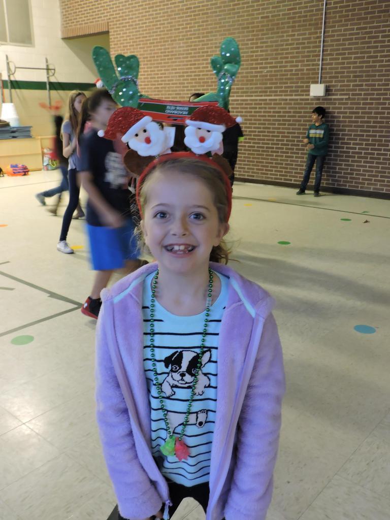 Student with Santa headband