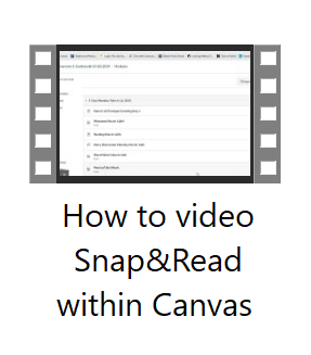 Video Snap & Read within Canvas