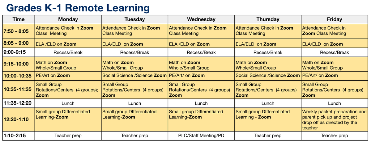 Kindergarten through 2nd grade Remote Learning Schedule.