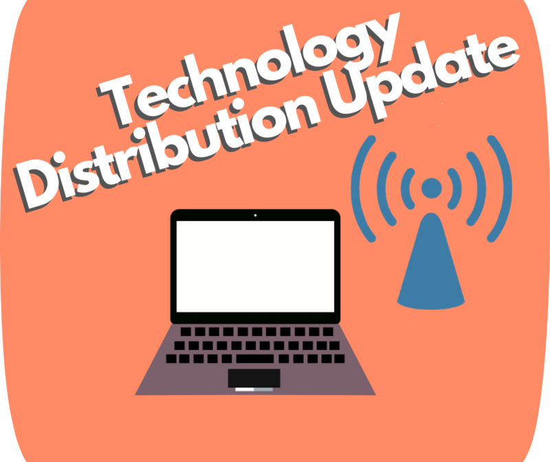 technology distribution update with laptop and hotspot icon