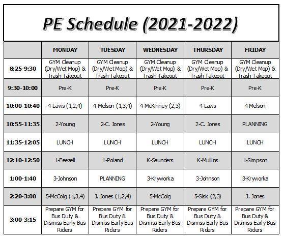 MTES PE Schedule (Fall 2021)