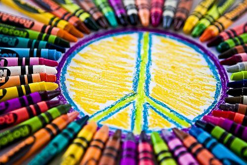 crayons form a peace sign