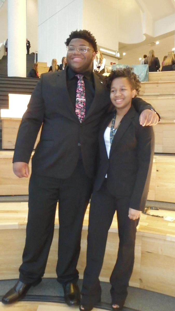Christian and Mya representing NCH at DECA Competition