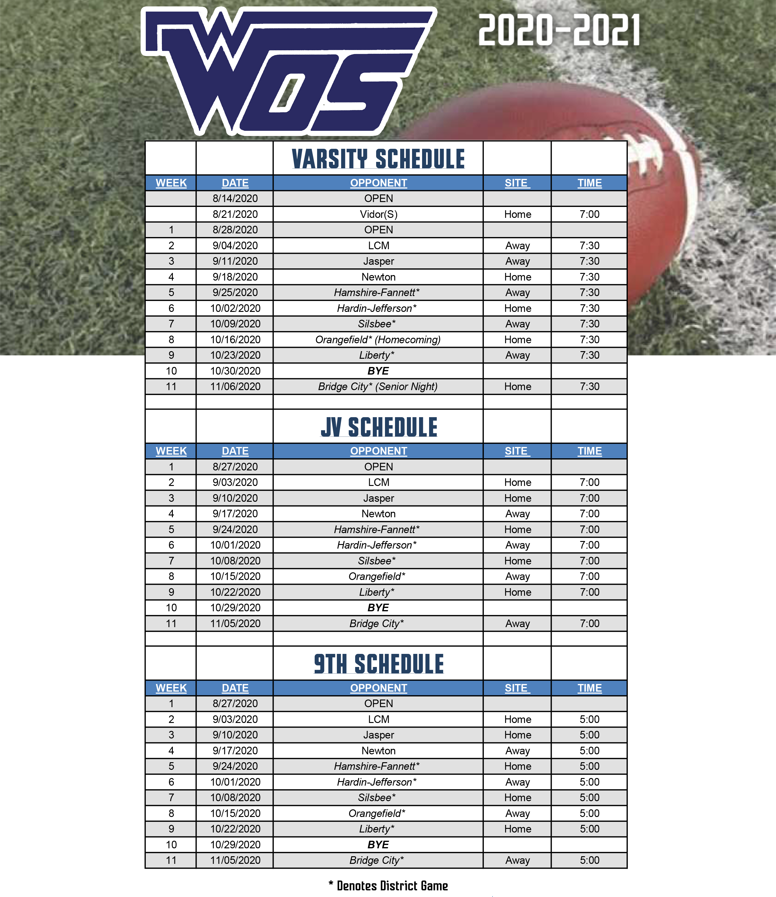 Football Schedule REVISED 7/22/2020