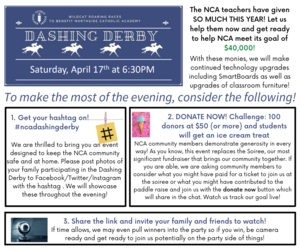 Get your hashtag on! We are thrilled to bring you an event designed to keep the NCA community safe and at home. We ask to you post to Facebook_Twitter_Instagram videos of your family participating in the Dashing .png