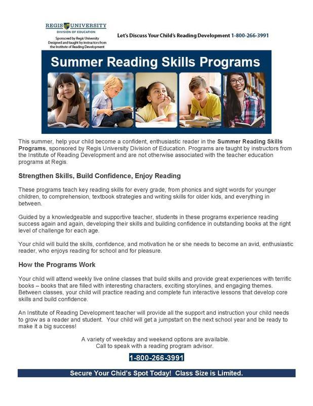 Summer Reading Skills Program Featured Photo