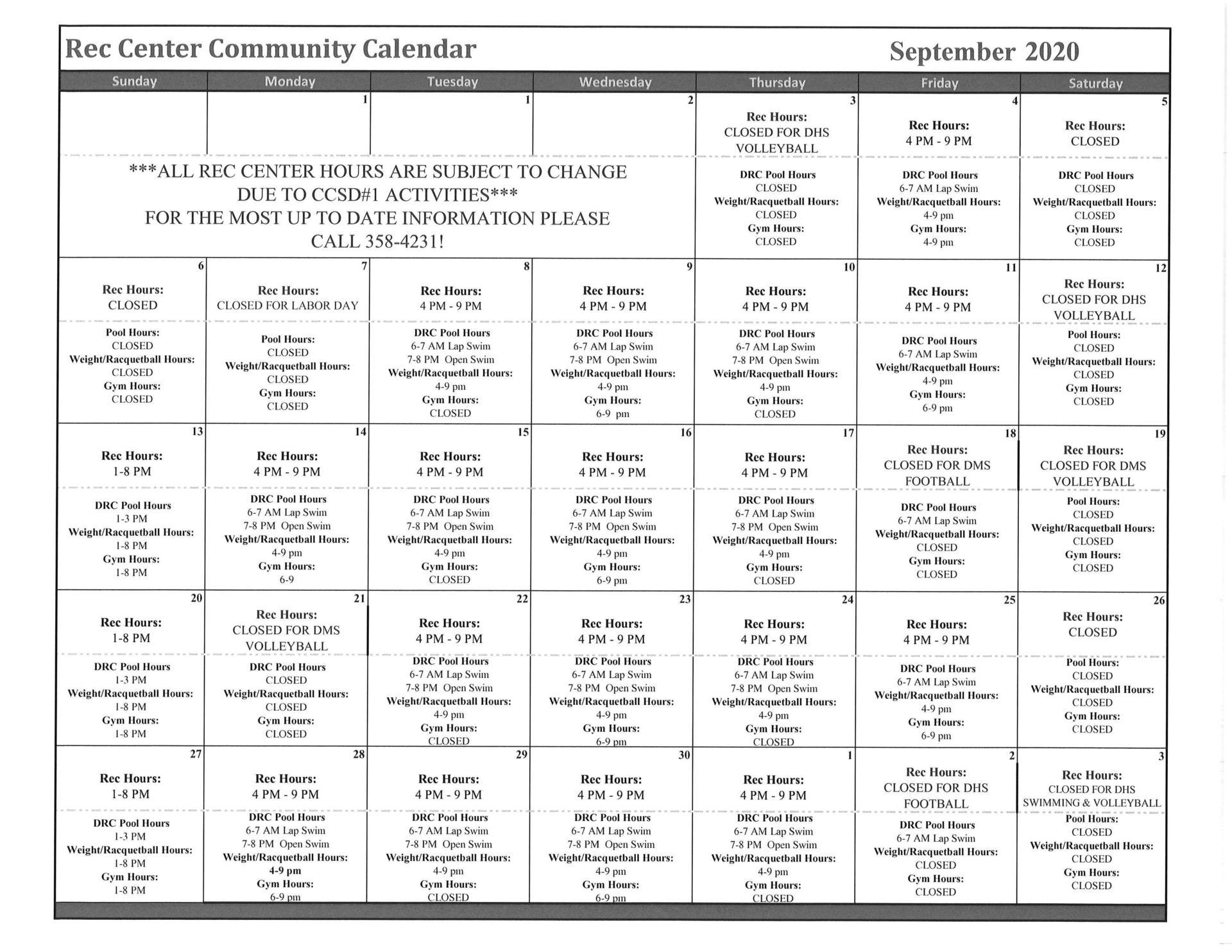 September 2020 Building Hours