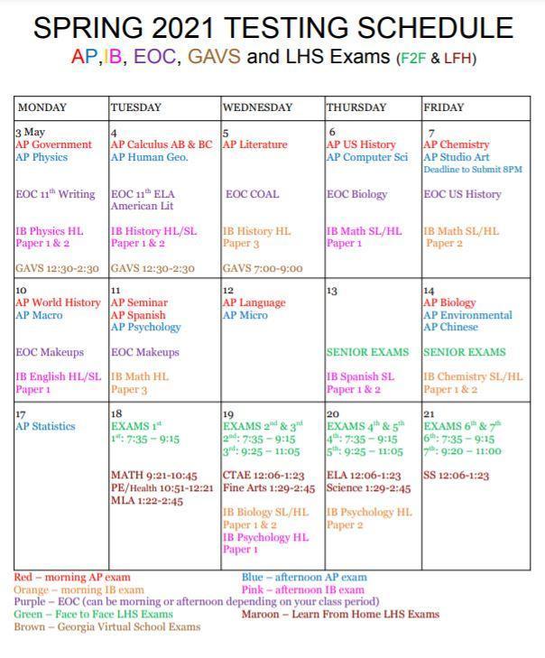 spring schedule 2021