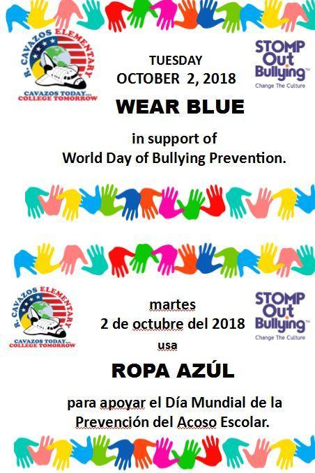 Wear blue in support of world day of bullying prevention