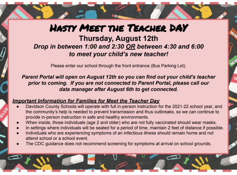Meet the Teacher August 12