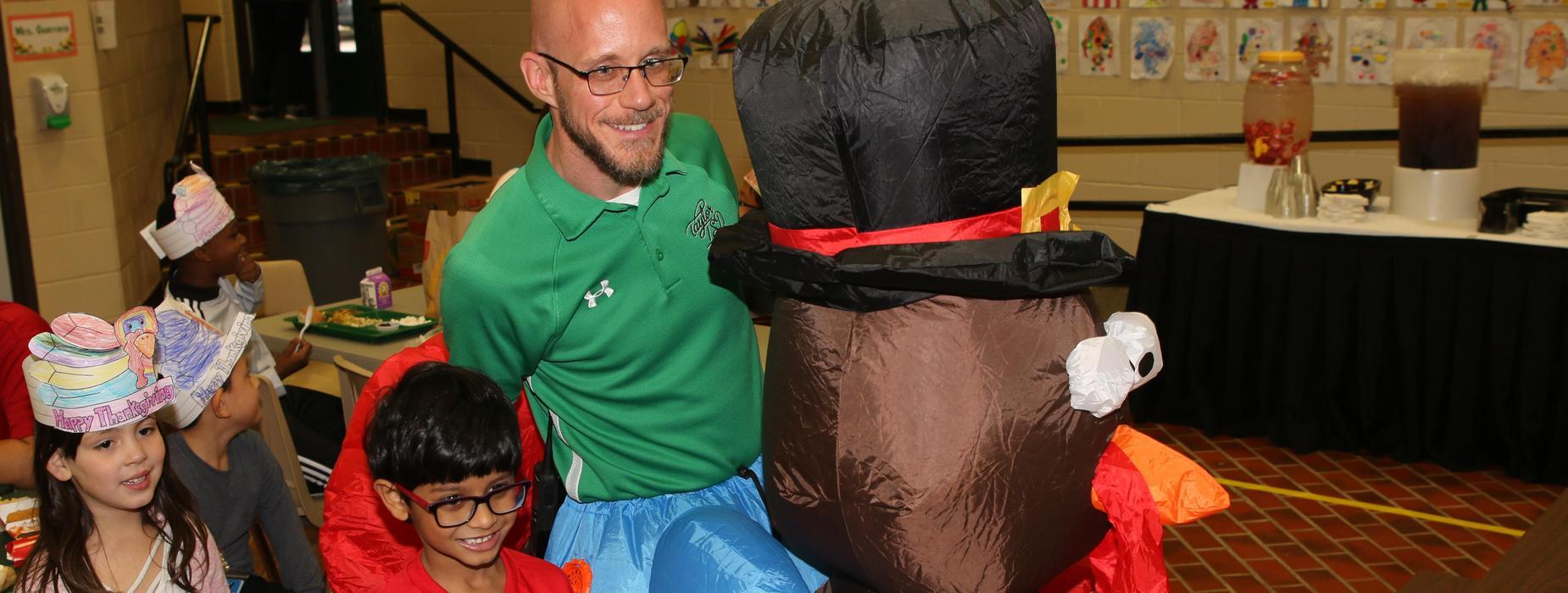 Teacher dressed in turkey costume