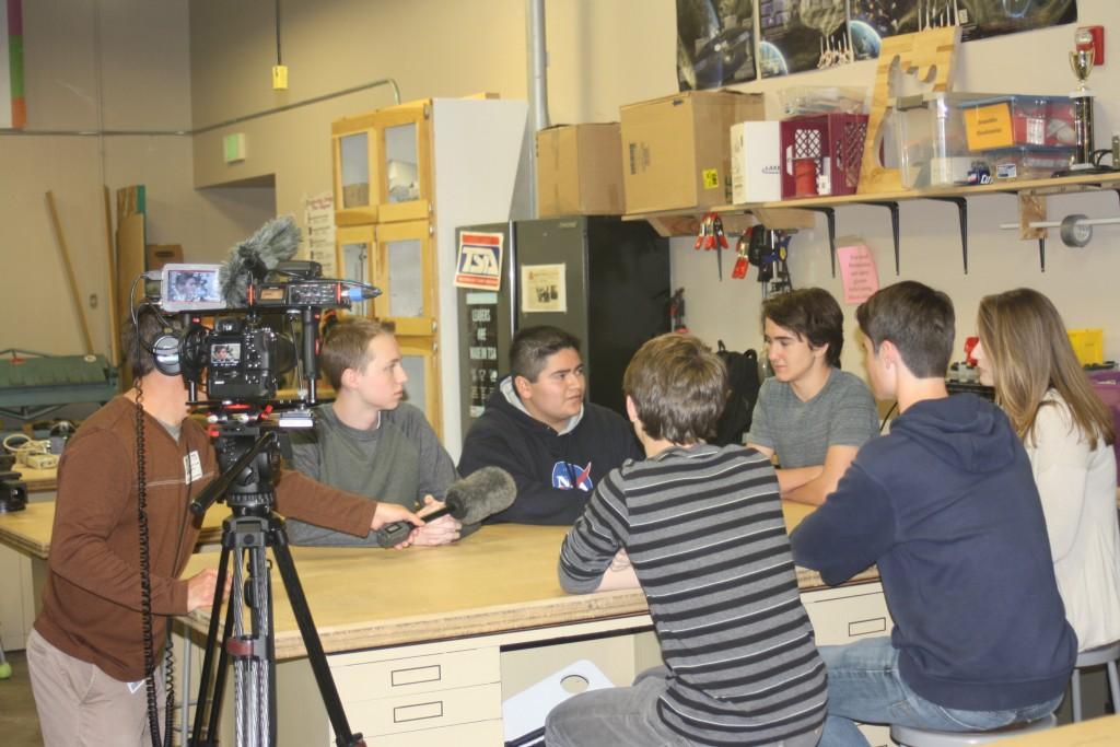 DCSD shoots a video about our Career Discovery Program, interviewing students about their apprenticeships and mentorships.