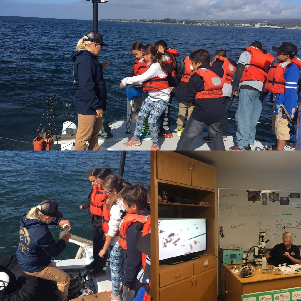 5th grade students on a boat in Monterrey Bay