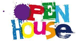 open house written in colorful letters