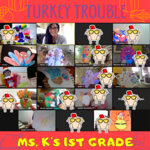 Zoom class with their disguised turkeys