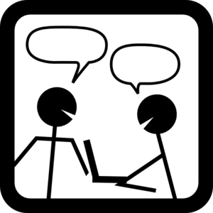 two stick figures speaking