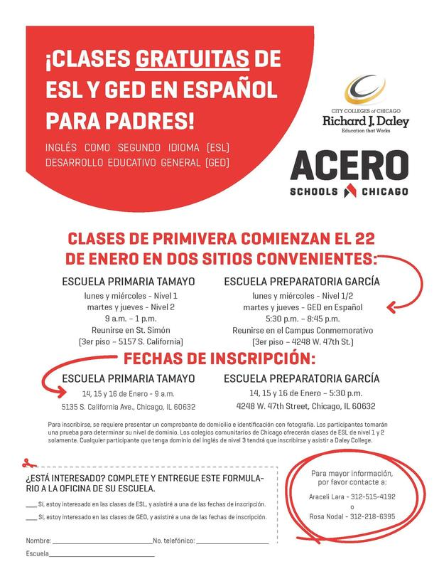 GED and ESL Class Flyer-Spanish