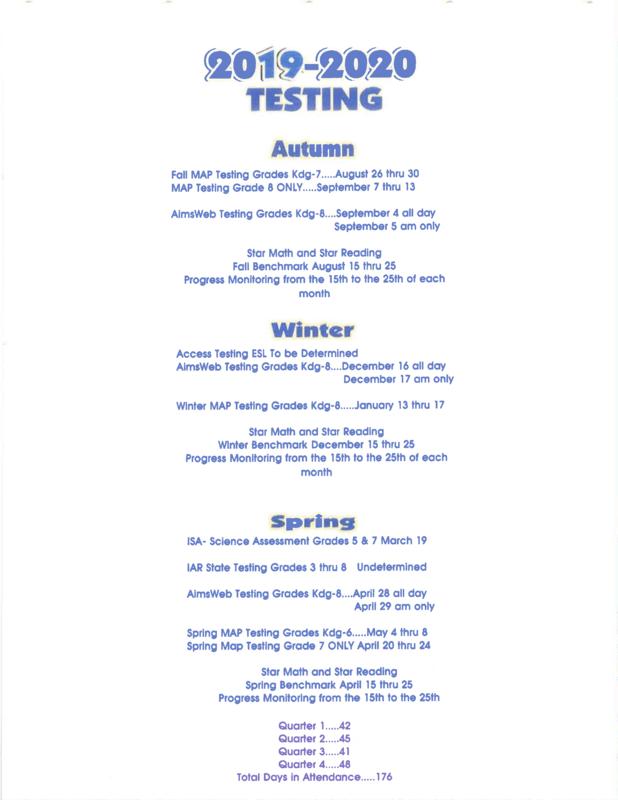 2019 - 2020 Test Dates