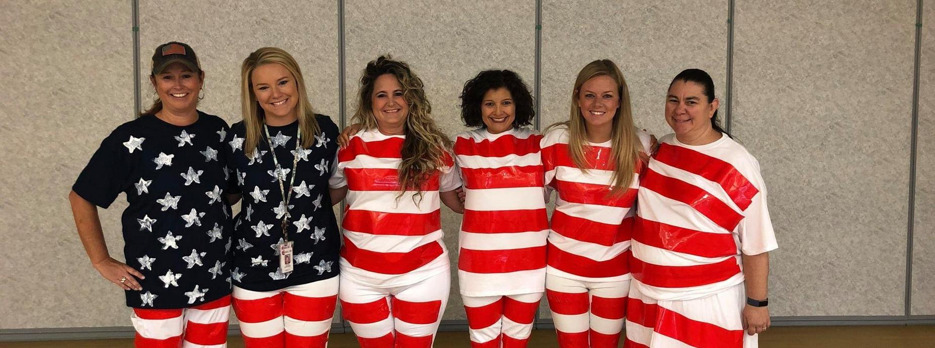 Kinder Teachers Dressed as US Flag