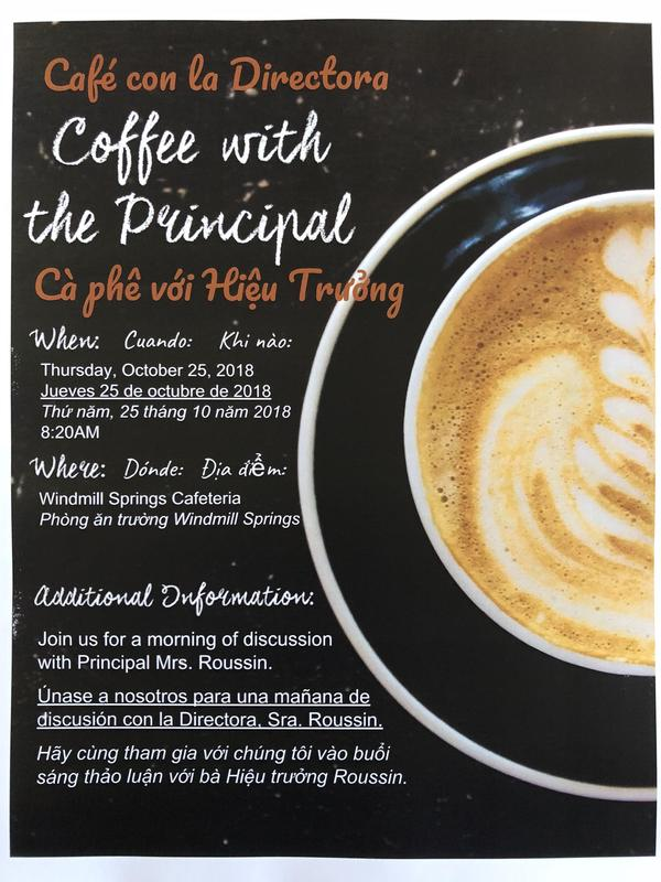 flyer for Coffee with the Principal with picture of a cup of coffee