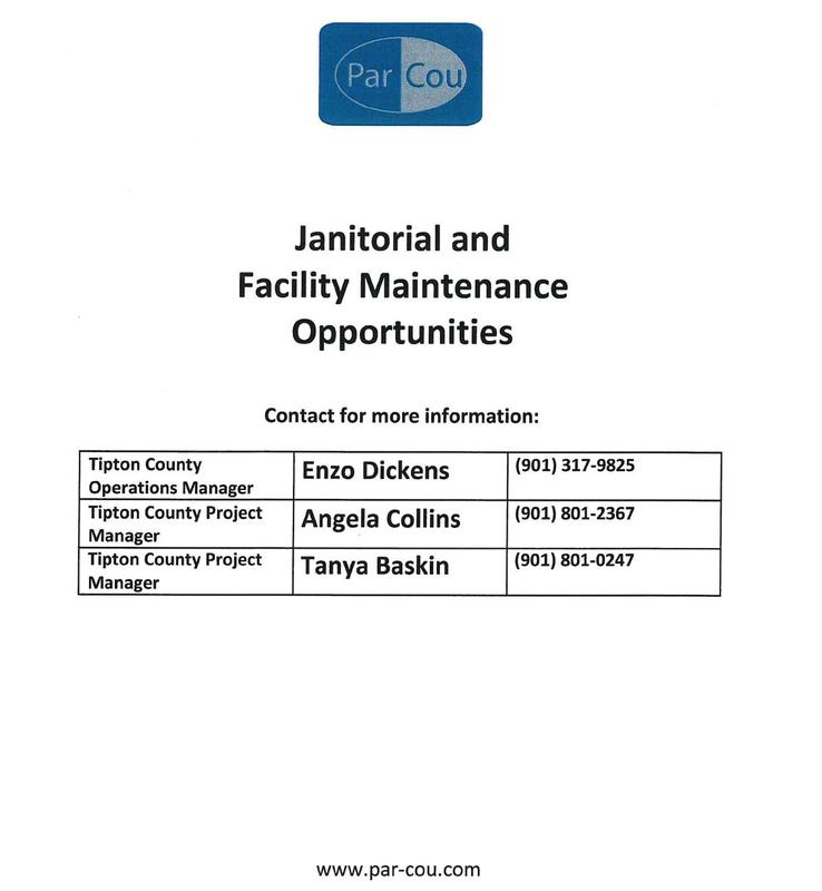 Janitorial and Facility Maintenance Opportunities, Contact for more information: Enzo Dickens at 901 317 9825; Angela Collins at 901 801 2367; or Tanya Baskin at 901 801 0247 or visit par-cou.com