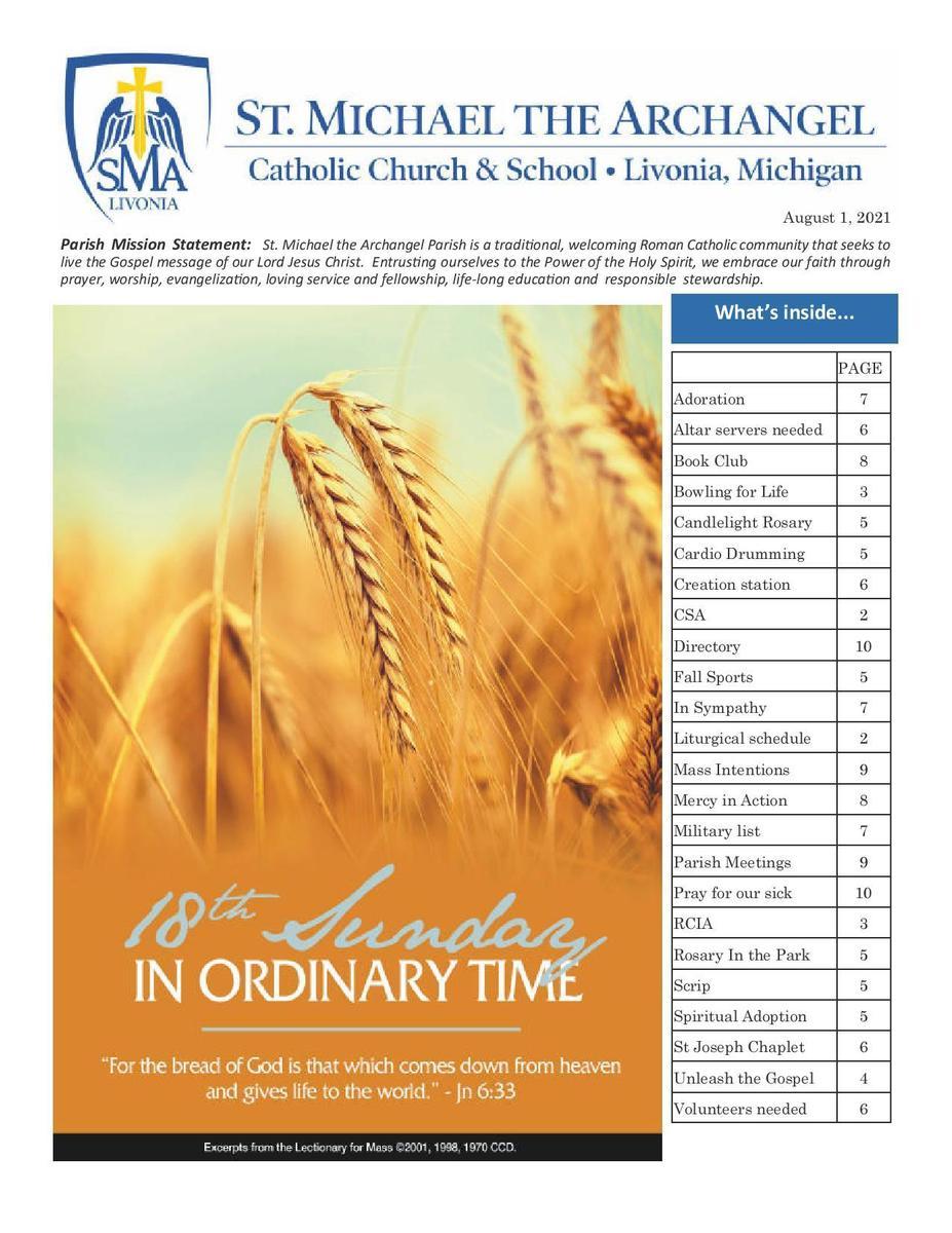 August 1, 2021 Parish Bulletin