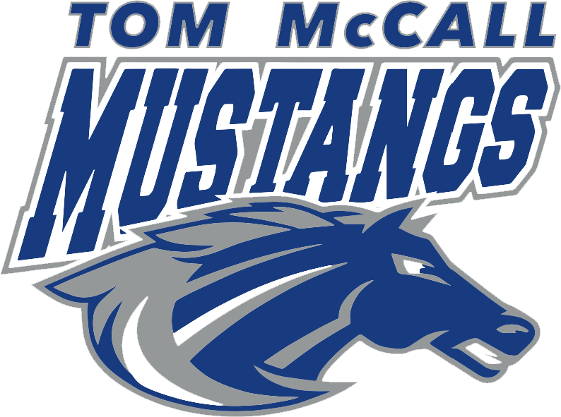 Tom McCall logo in blue and gray with mustang head